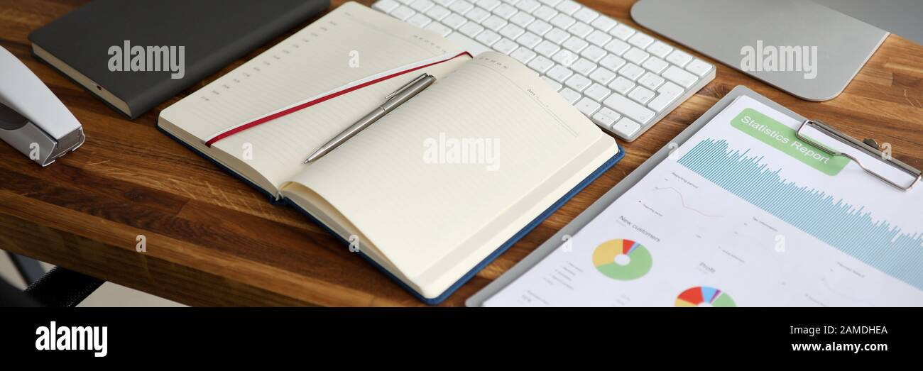 Empty business office with stationery lie on wooden Stock Photo