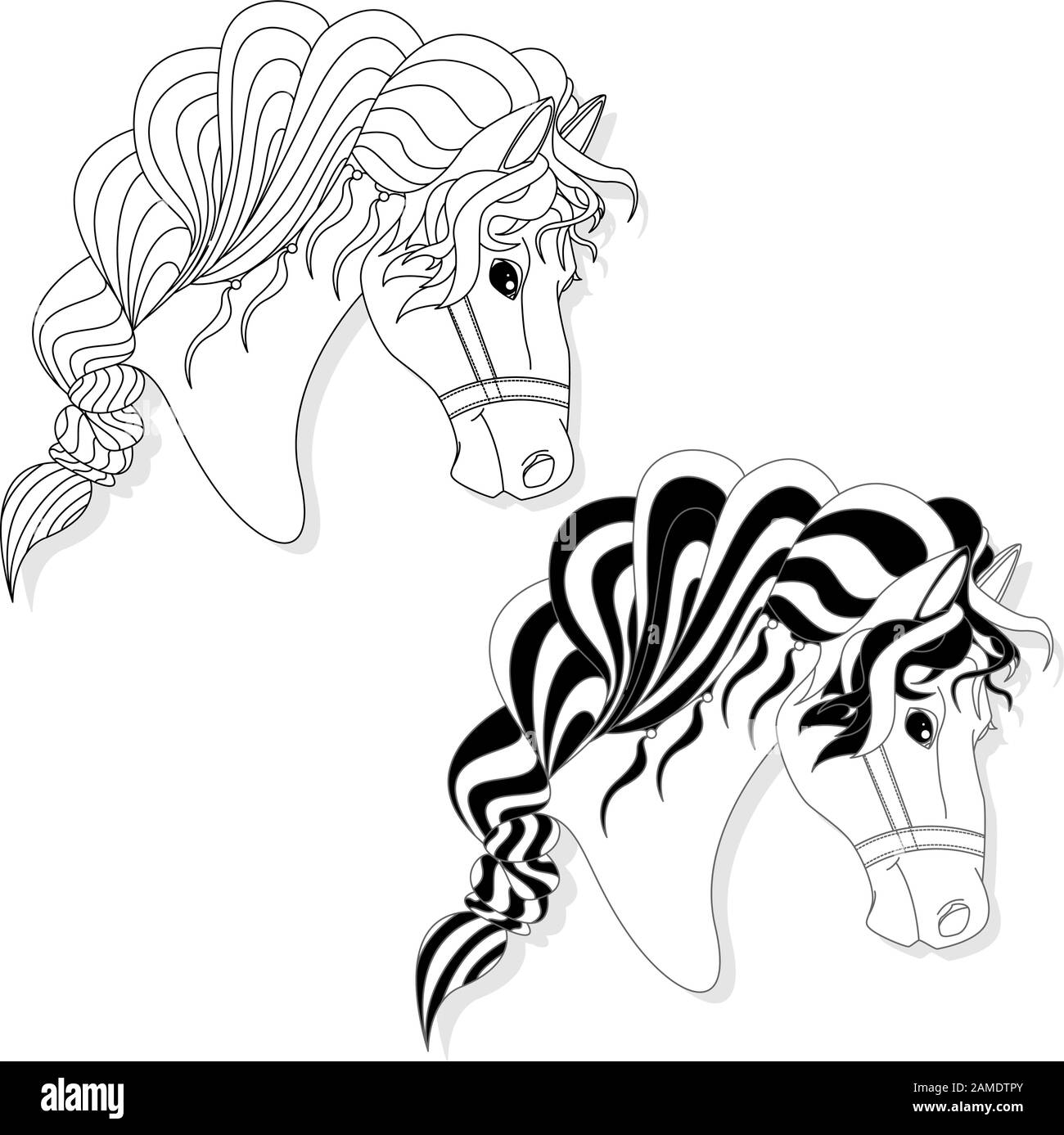 Vector Illustration Of Horse Head Clip Art Set Monochrome Image Colouring Page Stock Vector Image Art Alamy