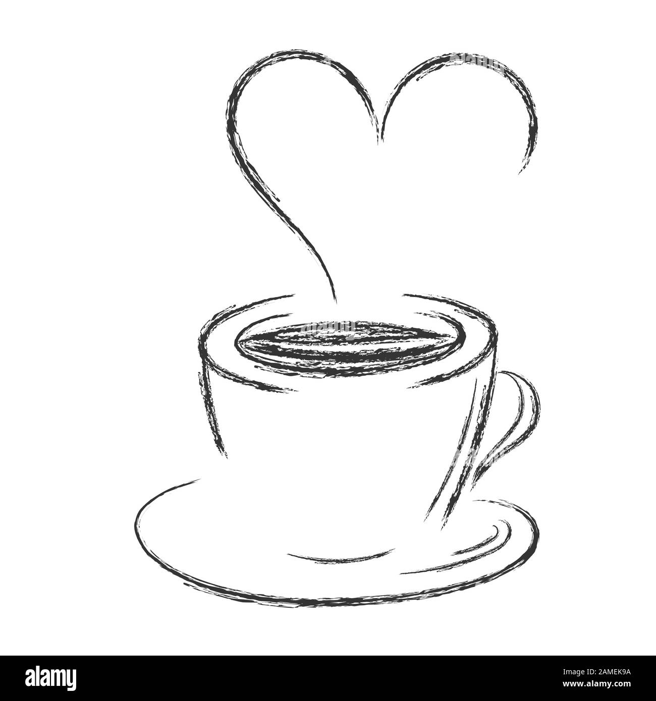 Vector Pencil Drawing Of A Cup Of Coffee Or Tea With Steam In The Form Of A Heart Isolated On White Background For Cafe Theme Design Menu Stock Vector Image Art