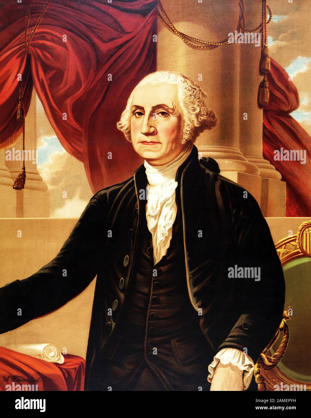 Vintage portrait of George Washington (1732 - 1799) – Commander of the Continental Army in the American Revolutionary War / War of Independence (1775 – 1783) and the first US President (1789 - 1797). Chromolithograph print circa 1876 by Augustus Weidenbach, after a painting by artist Gilbert Stuart (1755 – 1828). Stock Photo