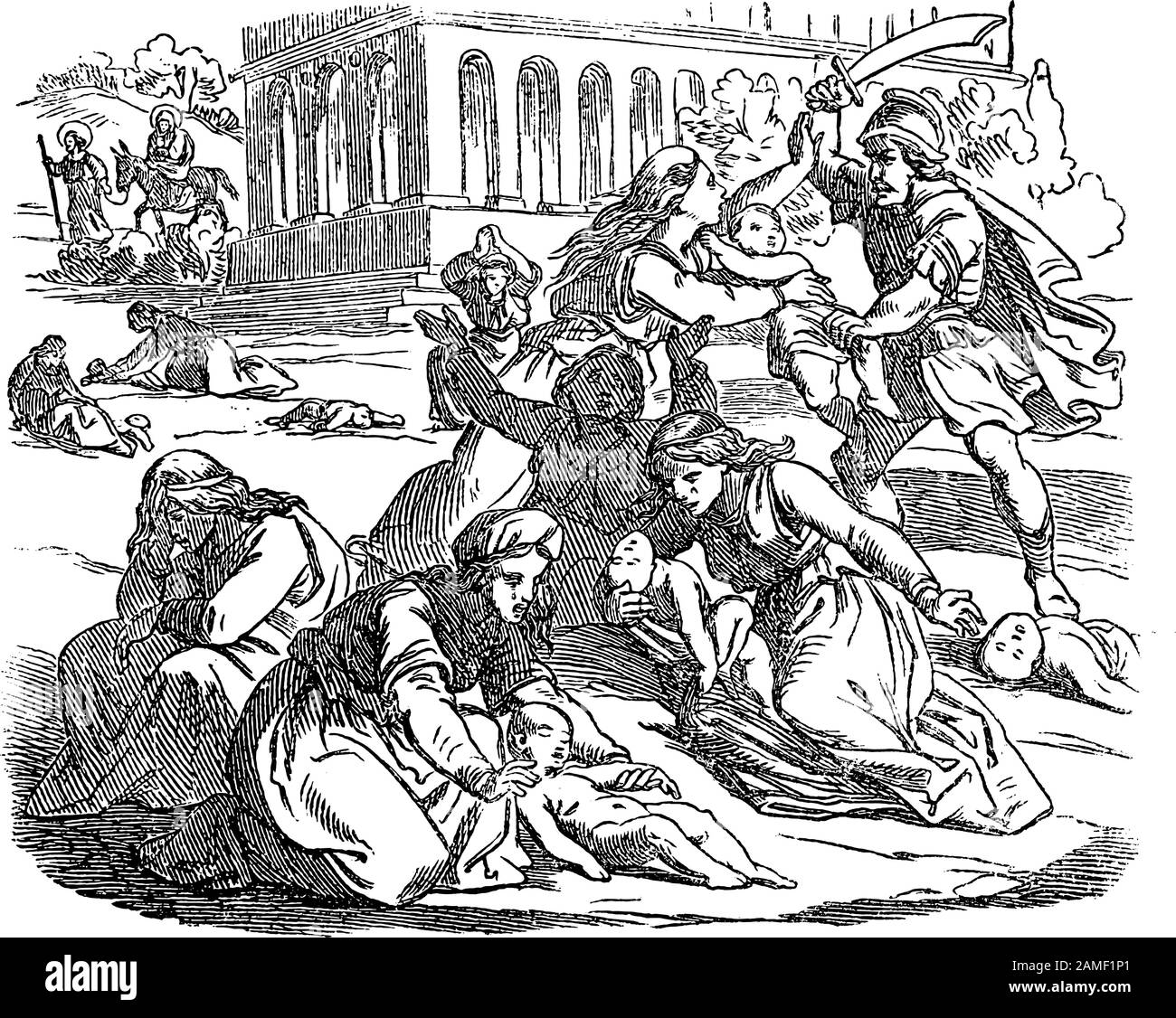 Vintage drawing or engraving of biblical story of massacre of innocents. Soldiers are killing babies or infants, mothers are crying.Bible, New Testament,Matthew 2. Biblische Geschichte , Germany 1859. Stock Vector