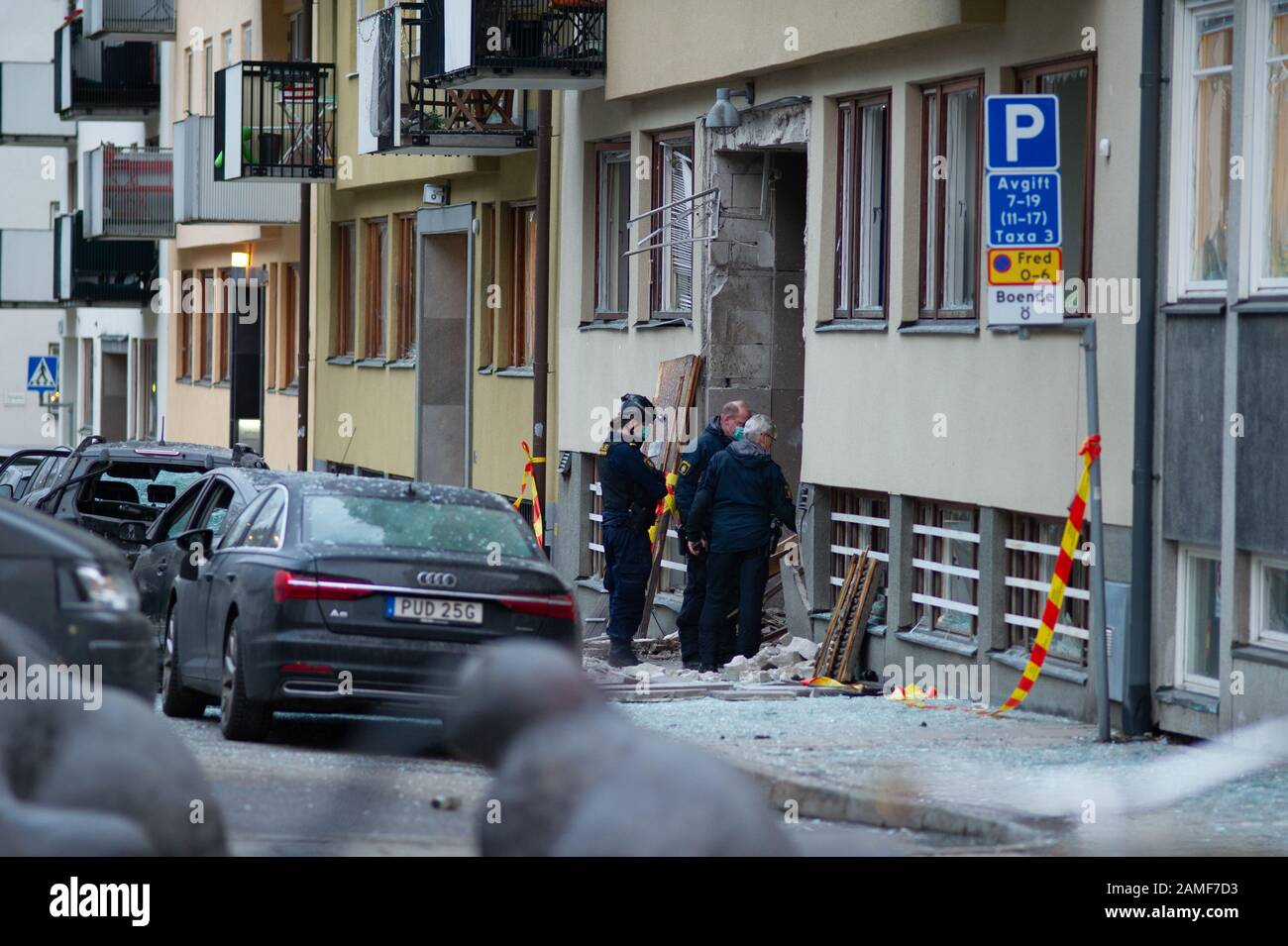 Stockholm, Sweden, January 13, 2020. Explosion in Stockholm, Sweden tonight. A very powerful explosion occurred at a multi-family house on Östermalm in Stockholm the night before Monday. The gate and cars were completely destroyed and several people were evacuated. Stock Photo