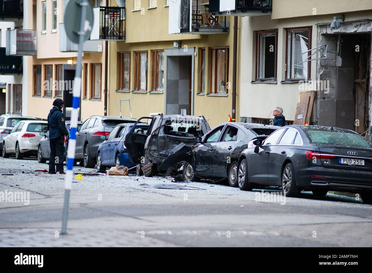 A very powerful explosion occurred at a multi-family house on Östermalm in Stockholm the night before Monday. The gate and cars were completely destroyed and several people were evacuated. Stock Photo