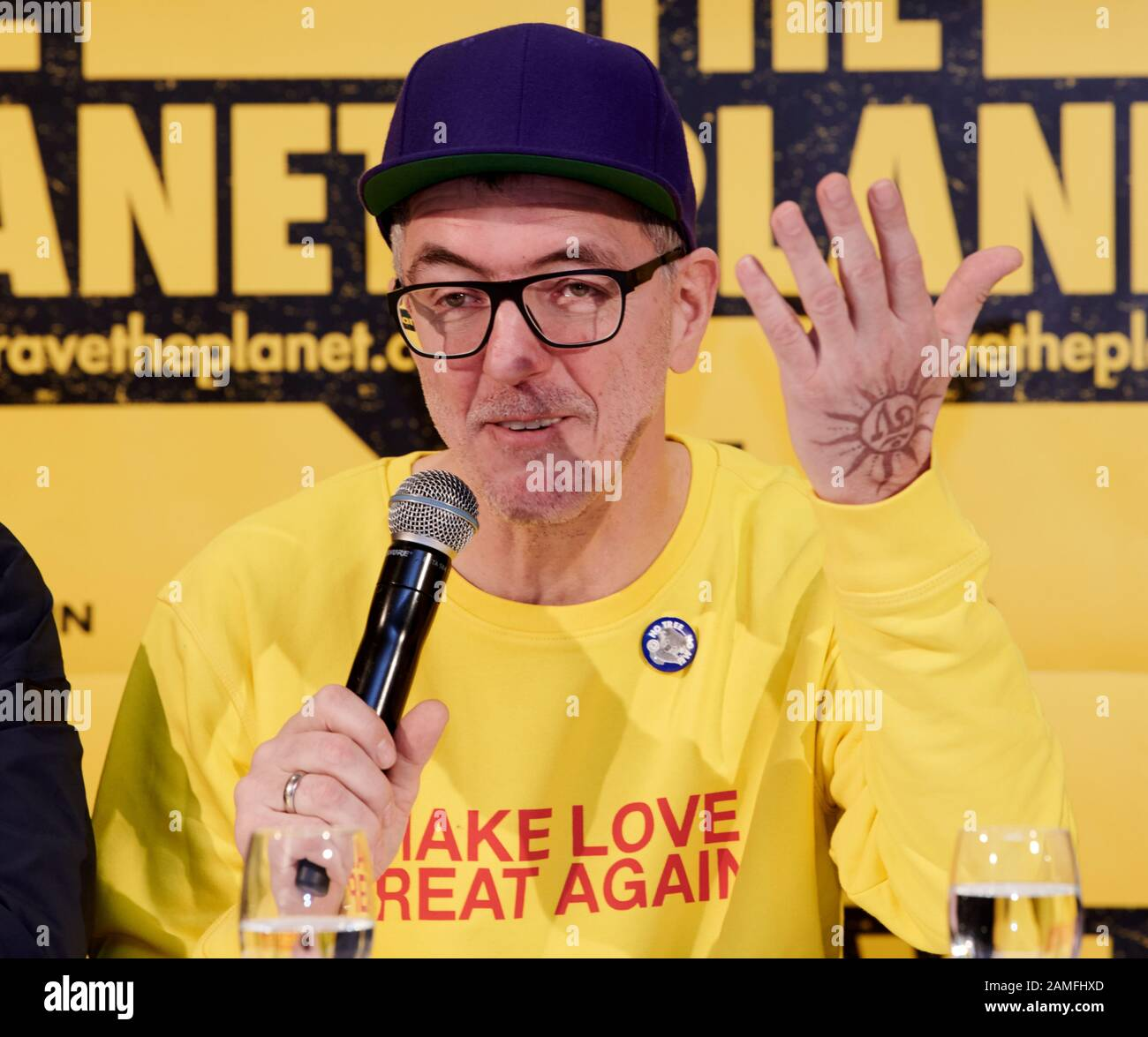 Berlin Germany 13th Jan 2020 Loveparade Founder Dr Motte Presents His New Project He And His Team From The Non Profit Limited Company Rave The Planet Want To Collect Donations The Aim Is