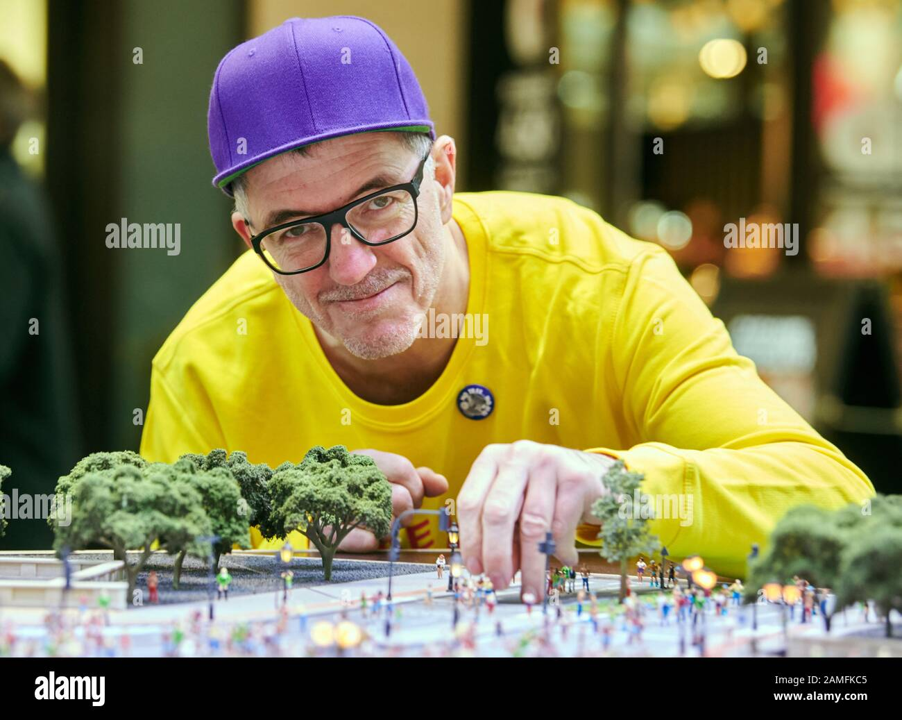 Berlin Germany 13th Jan 2020 Loveparade Founder Dr Motte Leans Over A Miniature Model Of The Loveparade He Presented His New Project At A Press Conference With The Purchase Of A Figure