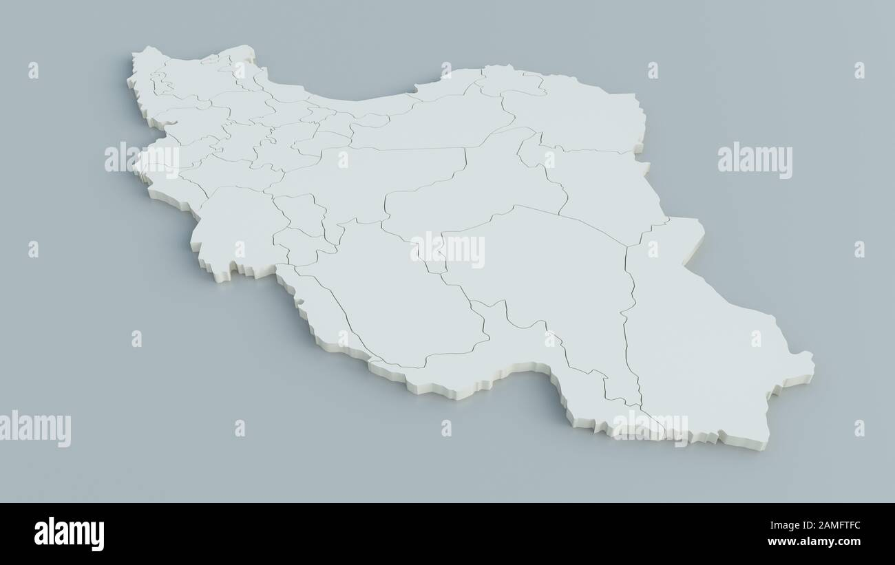 Map of Iran on grey background - 3D Rendering Stock Photo