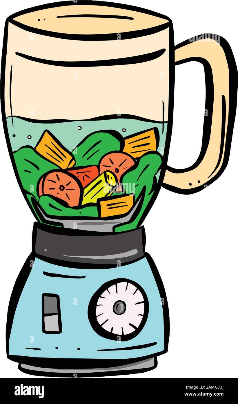 Fresh Fruit Blender Juicer Machine Appliance Cartoon Illustration Stock Vector Image Art Alamy