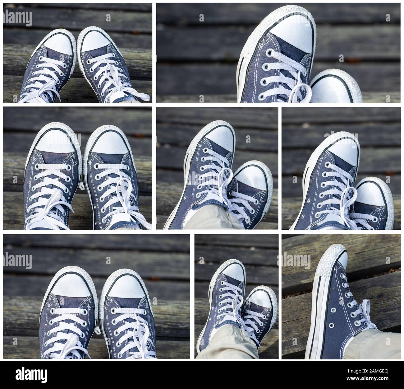 Set of blue sneakers on the feet on wooden background. Top view. Stock Photo