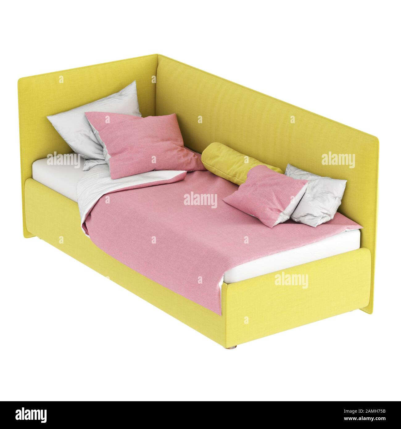Children\'s bed with soft fabric yellow upholstery and white ...