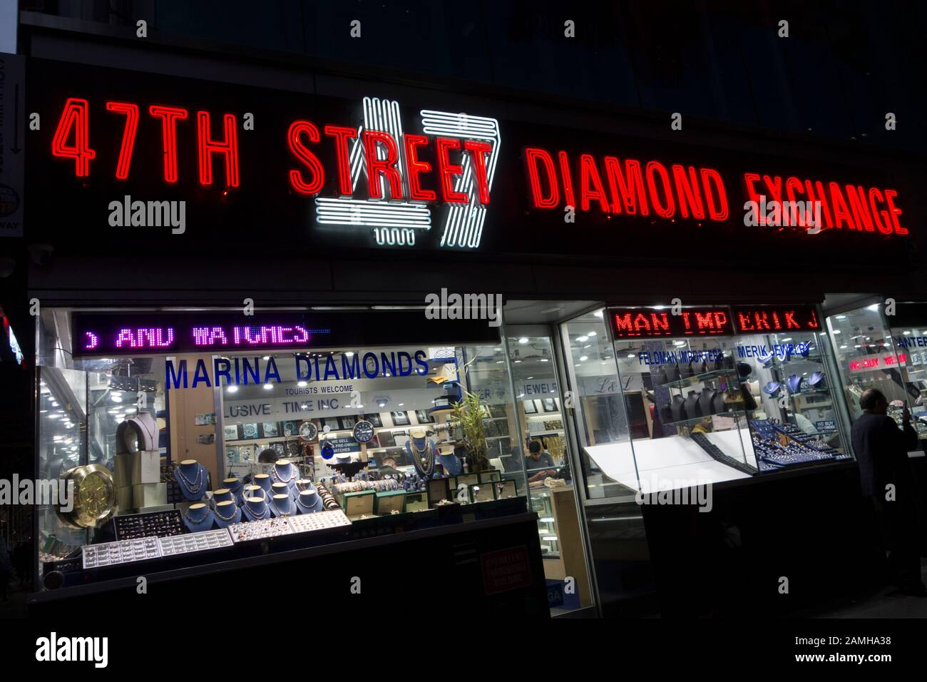 47th Street Diamond Exchange at the corner of 47th Street and Sixth Avenue in the diamond district on E. 47th Street, Midtown Manhattan, New York City Stock Photo