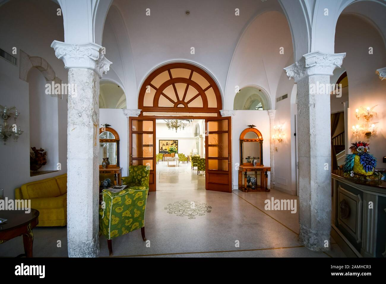 A typical interior view of the lobby and waiting room of a luxury hotel in Brindisi, on the Adriatic Coast of Southern Italy. Stock Photo