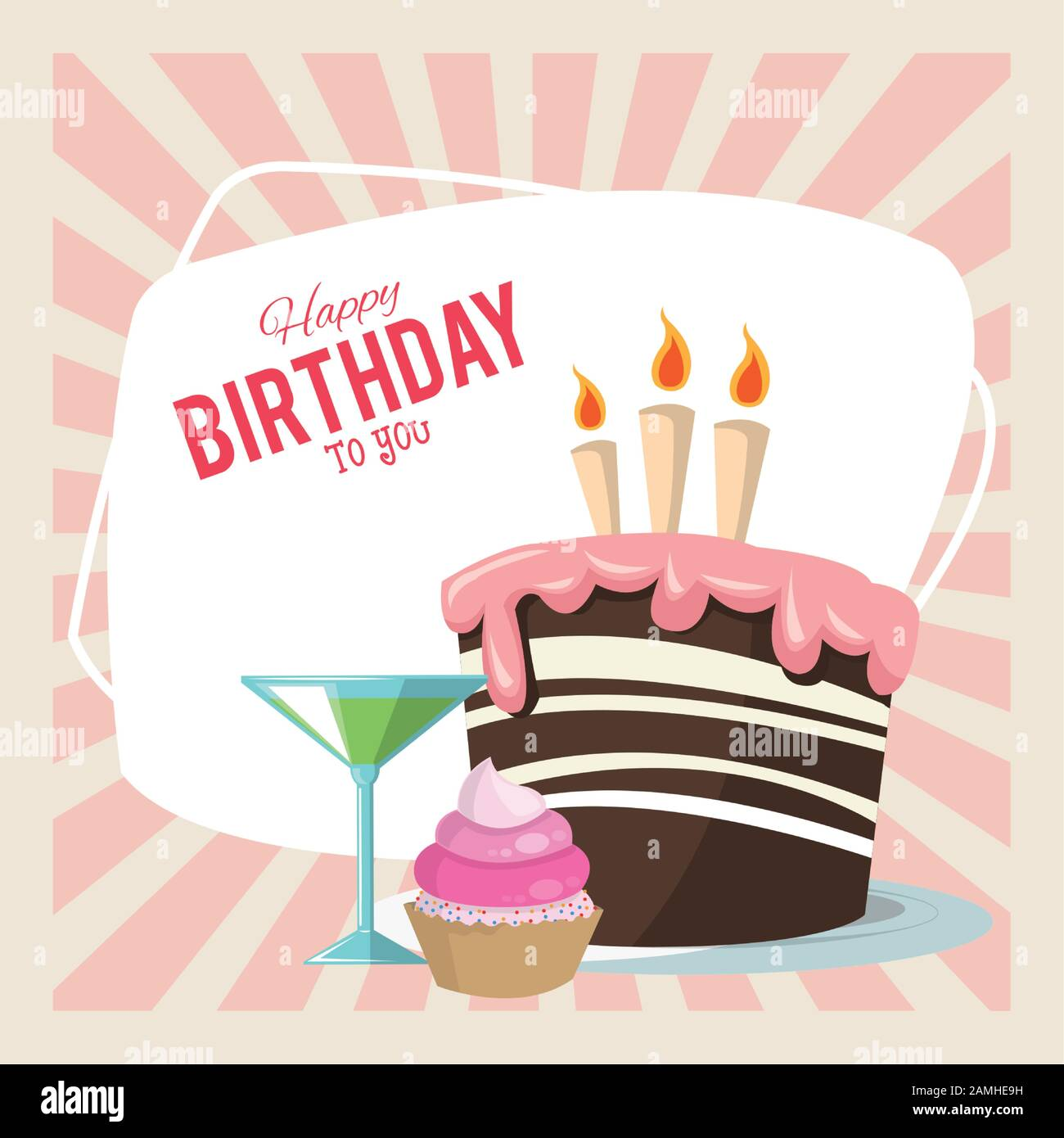 Happy Birthday Celebration Party Sweet Cake Cupcake And Cocktail Stock Vector Image Art Alamy
