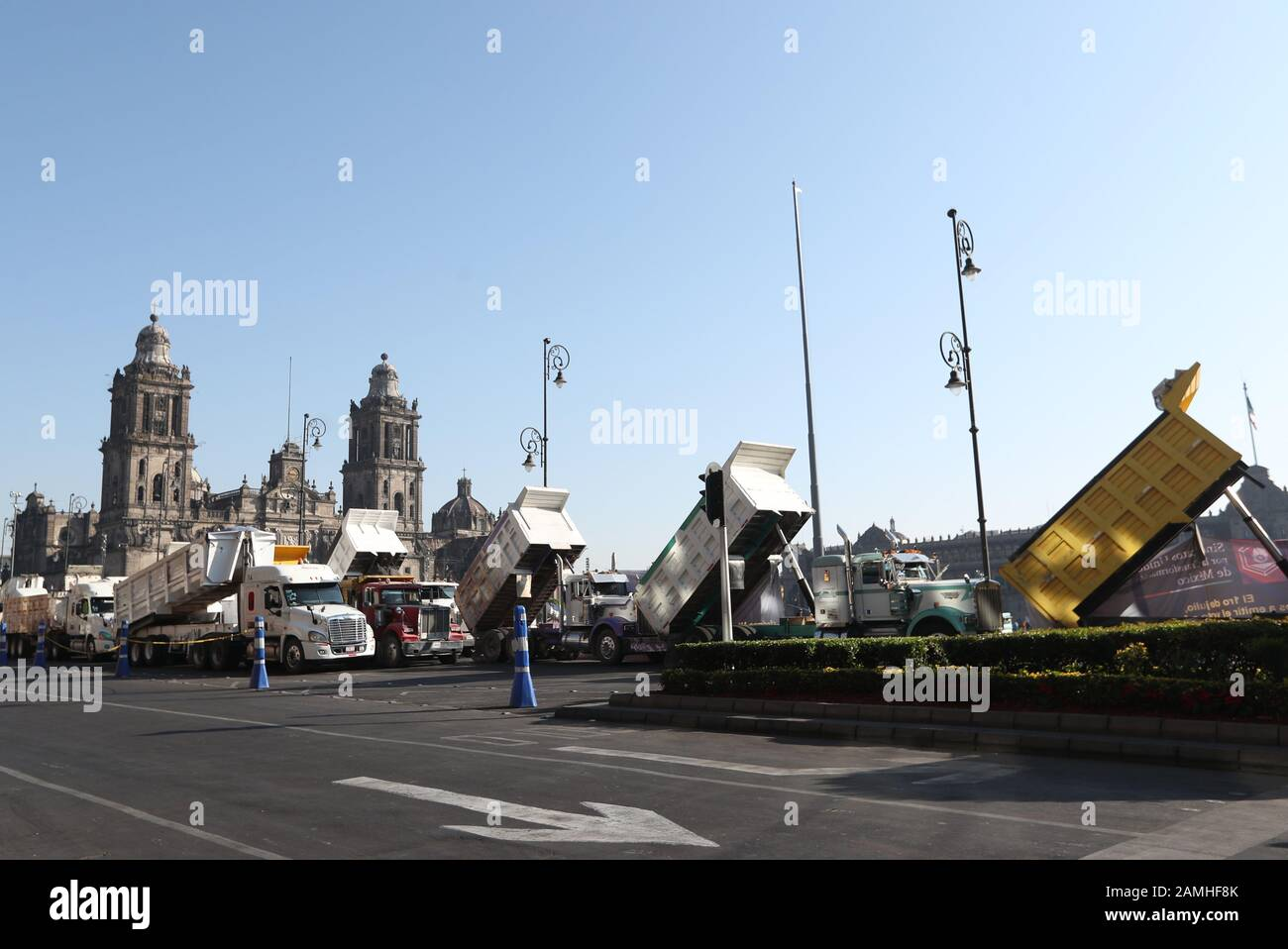 Mexico City, Mexico. 13th Jan, 2020. General view this monday, of a protest of carriers in the Zocalo of Mexico City, Mexico 13 January 2020. Hundreds of cargo carriers blocked monday different accesses from Mexico City to protest against the conditions offered by the Government of Andres Manuel Lopez Obrador to work on the works of the new Santa Lucia airport. Credit: EFE News Agency/Alamy Live News Stock Photo