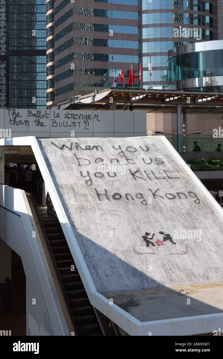 Hong Kong protest 2019; graffiti on Hong Kong Island as a result of the Hong Kong protests and civil disruption, Hong Kong Asia Stock Photo