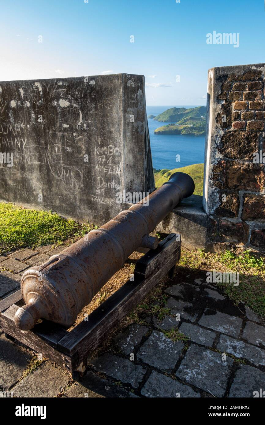 Cannon on ramparts, Fort Charlotte, Kingstown, Saint Vincent and the Grenadines, West Indies, Caribbean Stock Photo