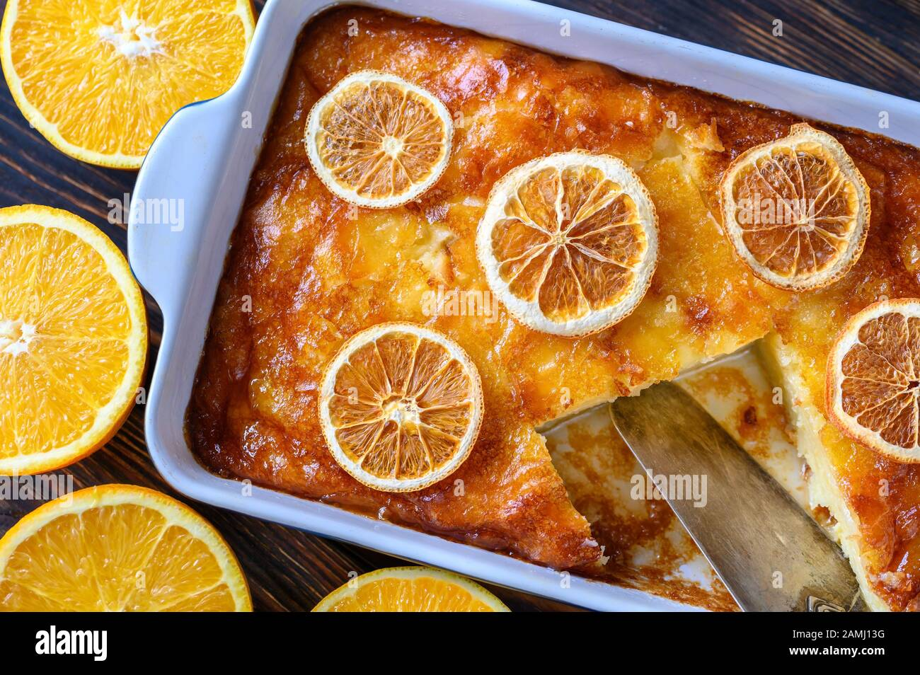 Portokalopita - Greek phyllo orange cake in a baking pan Stock Photo