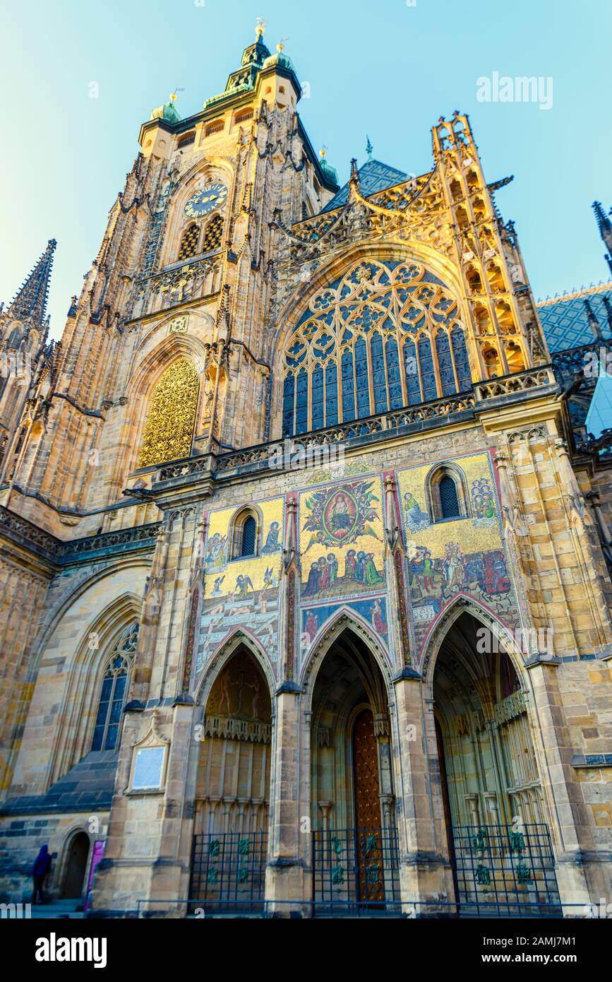Ornate south side of St. Vitus Cathedral, Prague Castle, Prague, Czech Republic Stock Photo