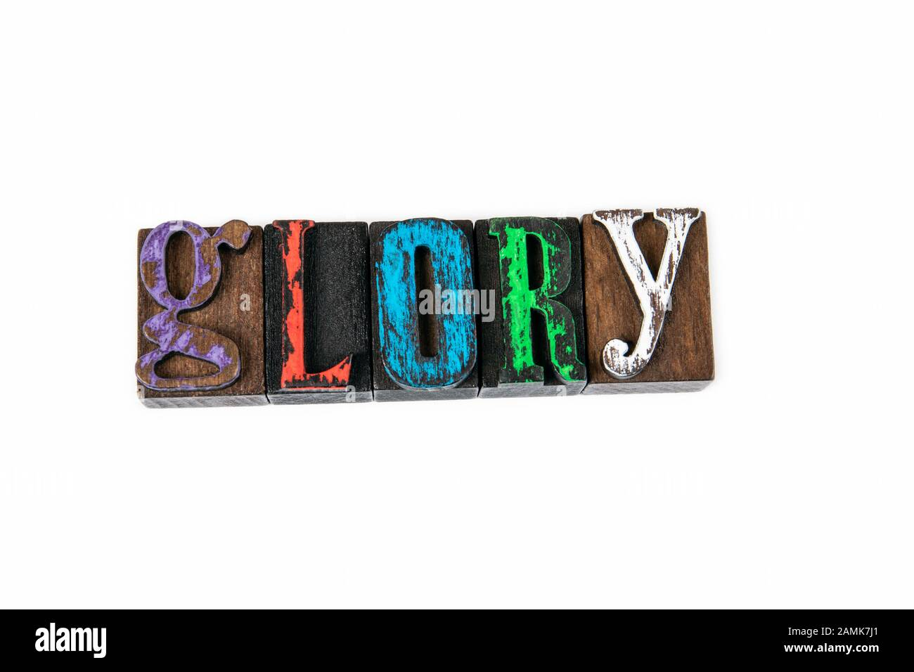 Glory. Faith, heroism, work and state, abstract background. Colored wooden letters on a white background Stock Photo