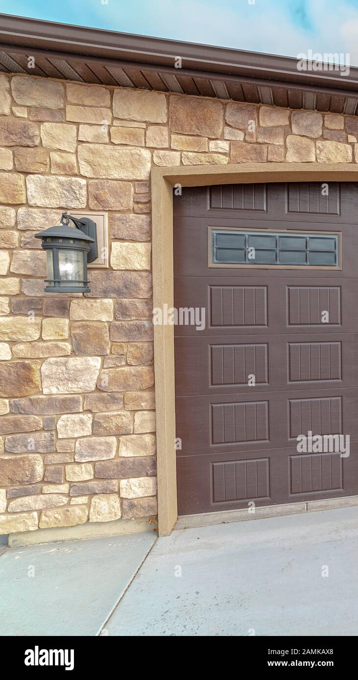 Vertical Large Closed Double Wooden Garage Door Day Light Stock Photo Alamy
