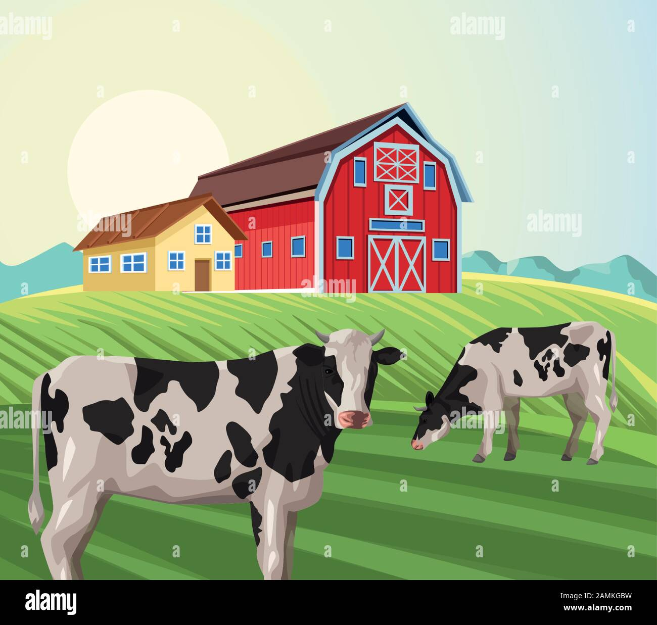 Cow Field Drawing High Resolution Stock Photography And Images Alamy