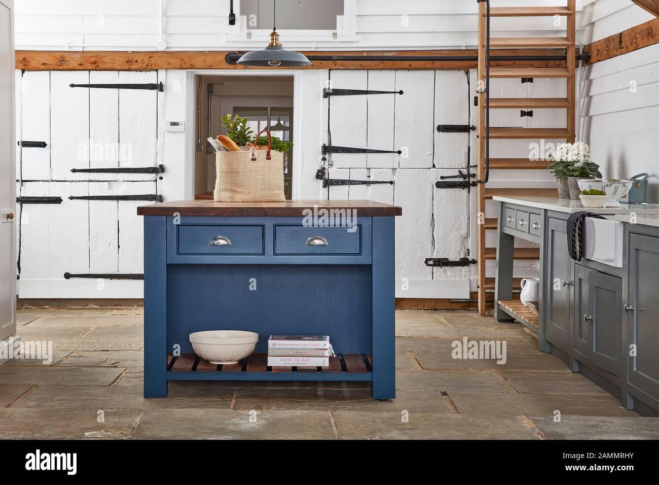 Blue Kitchen Island Stock Photo Alamy