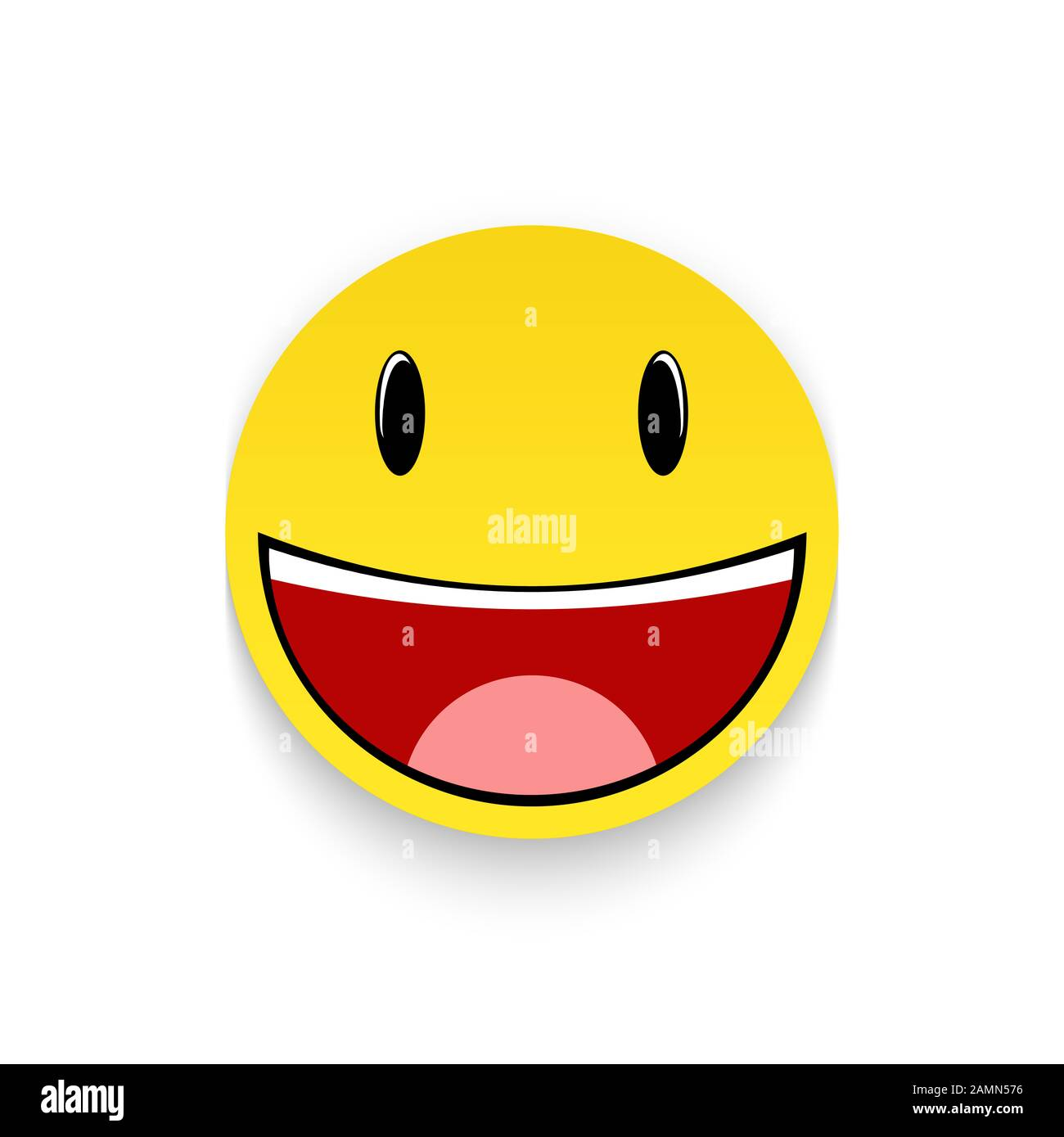 Smiling emoticon isolated on a white background Stock Photo