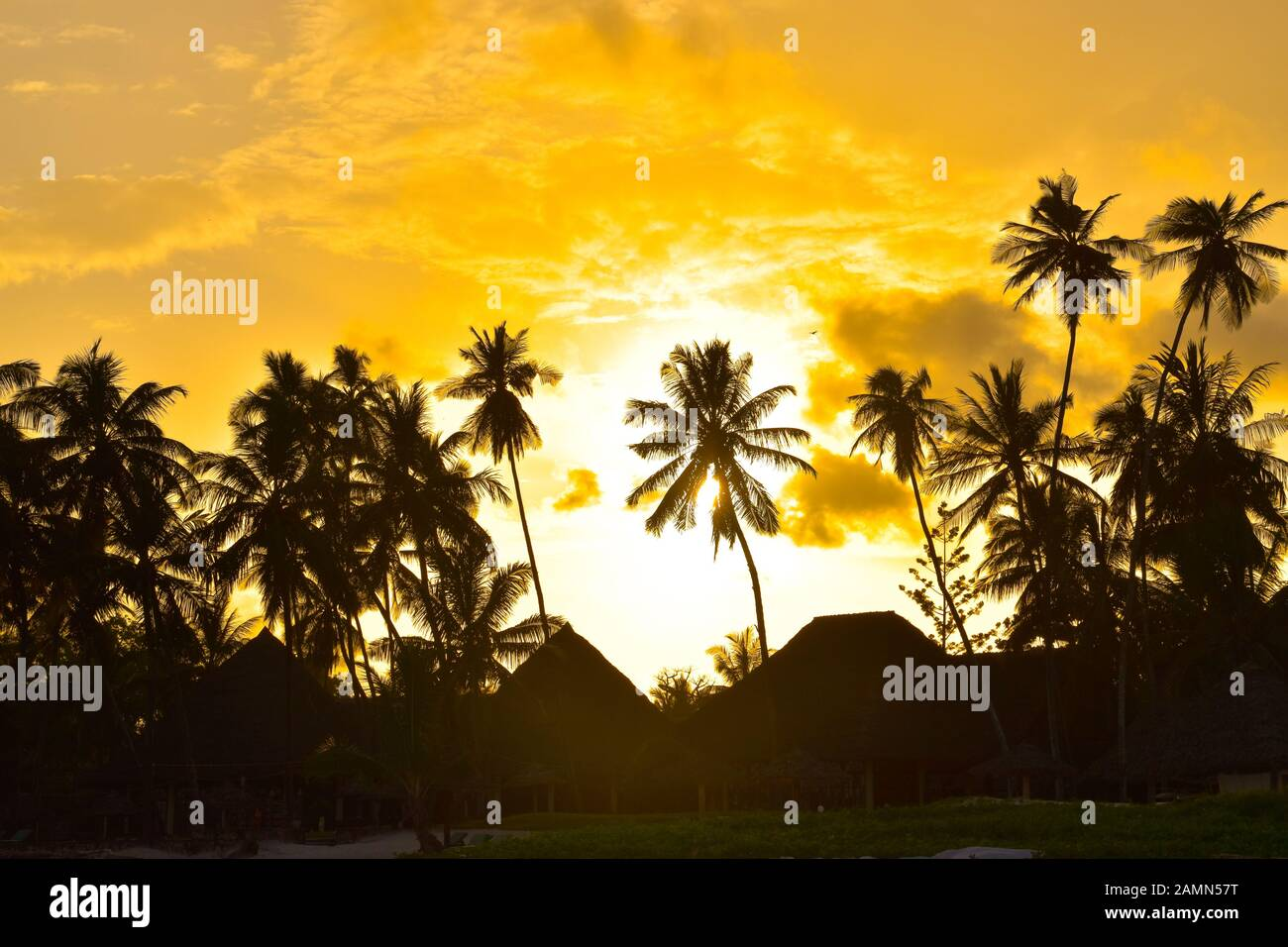 Sunset and sunsets on the beach in Kenya Stock Photo