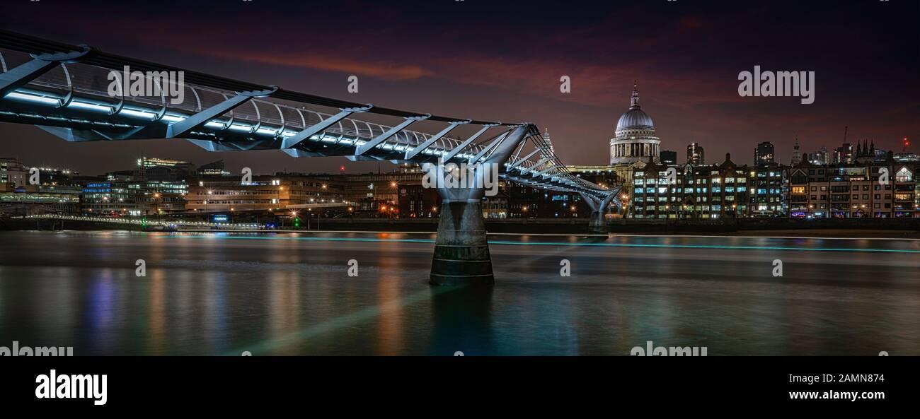The Millennium Bridge Footbridge, Bankside, London, United Kingdom Stock Photo