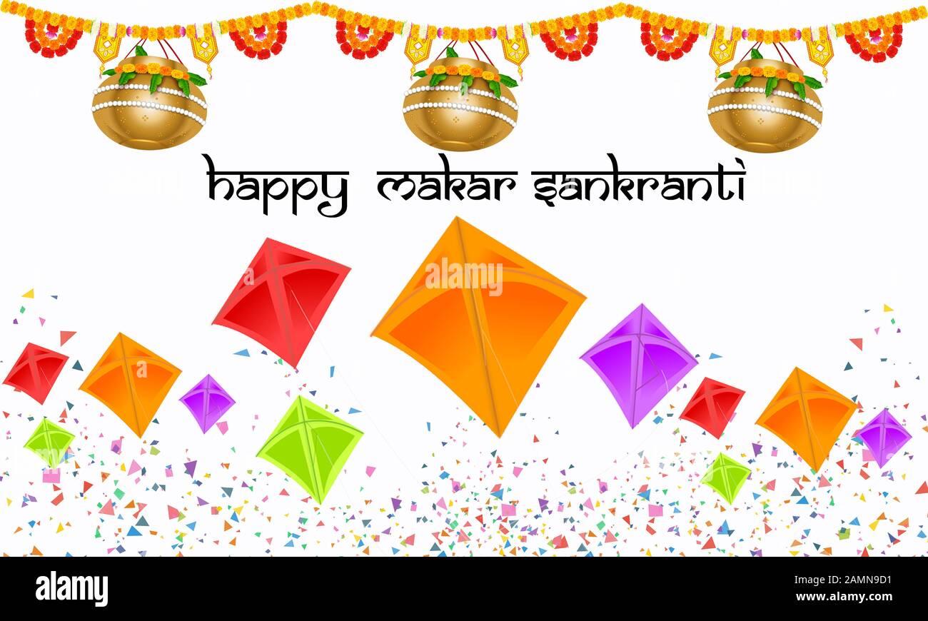 Happy Makar Sankranti Calligraphy.Mangal Kalash(Hinduism Holy Pot) Illustration.Indian Harvest Festival.Hindu Woman In Saree (Traditional Attire).Kite. Stock Photo