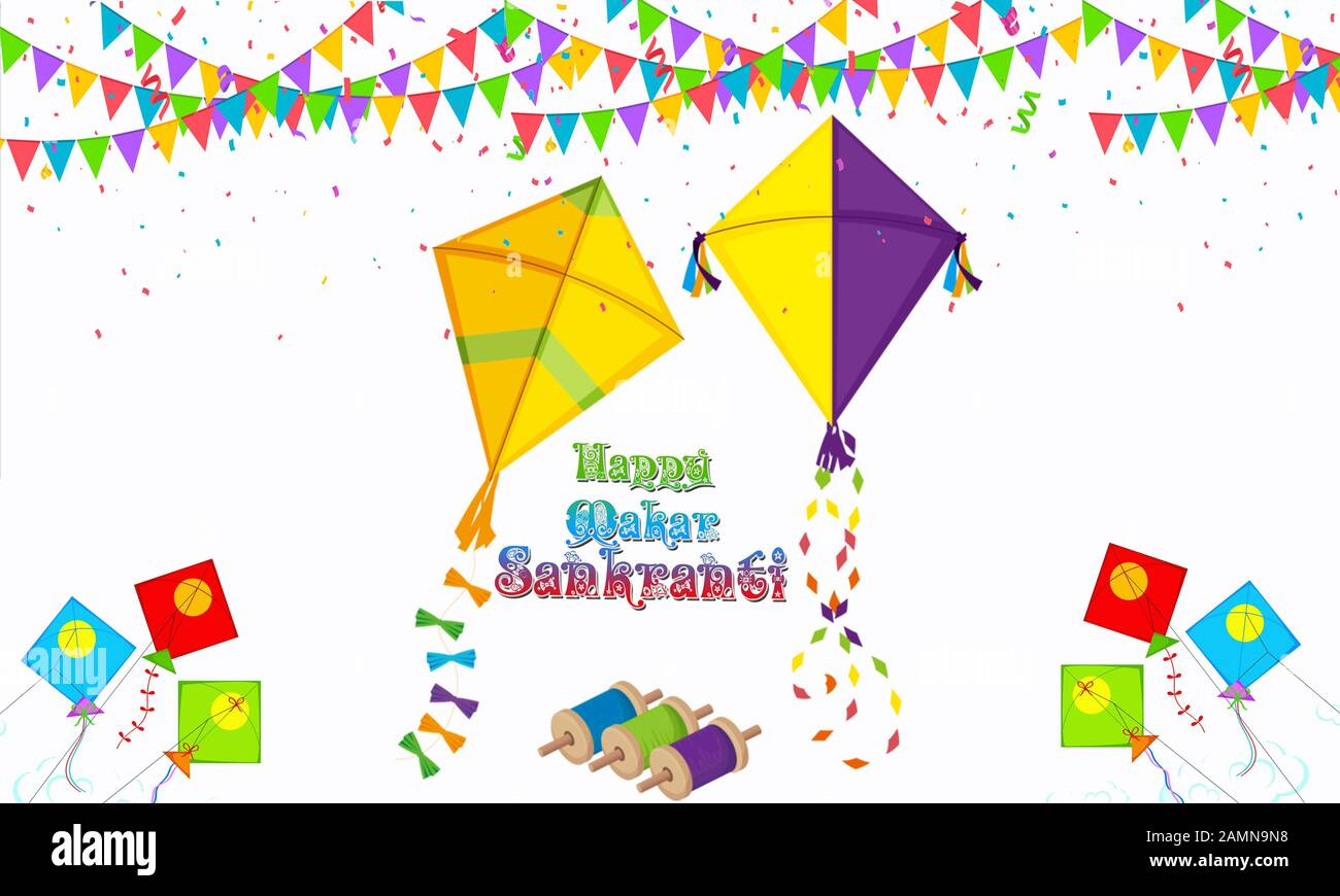 Kite Banner Illustration for Happy Makar Sankranti Invitation Card. Indian Festival. Artistic Calligraphy.Graphic.Editable.Vector.Hinduism.Prosperity. Stock Photo