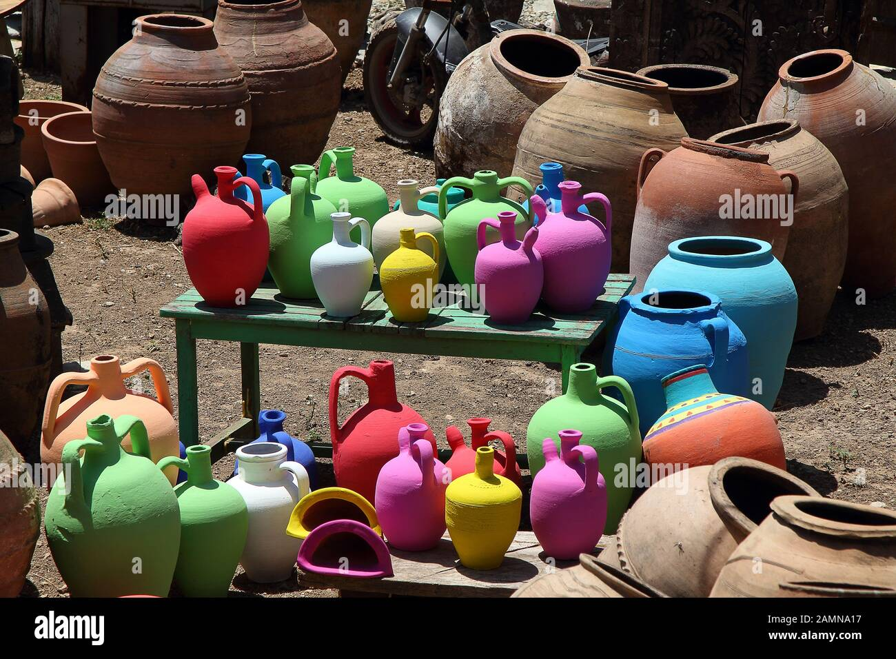 Clay Pots Of Different Color In Pile Background Texture Stock Photo Alamy