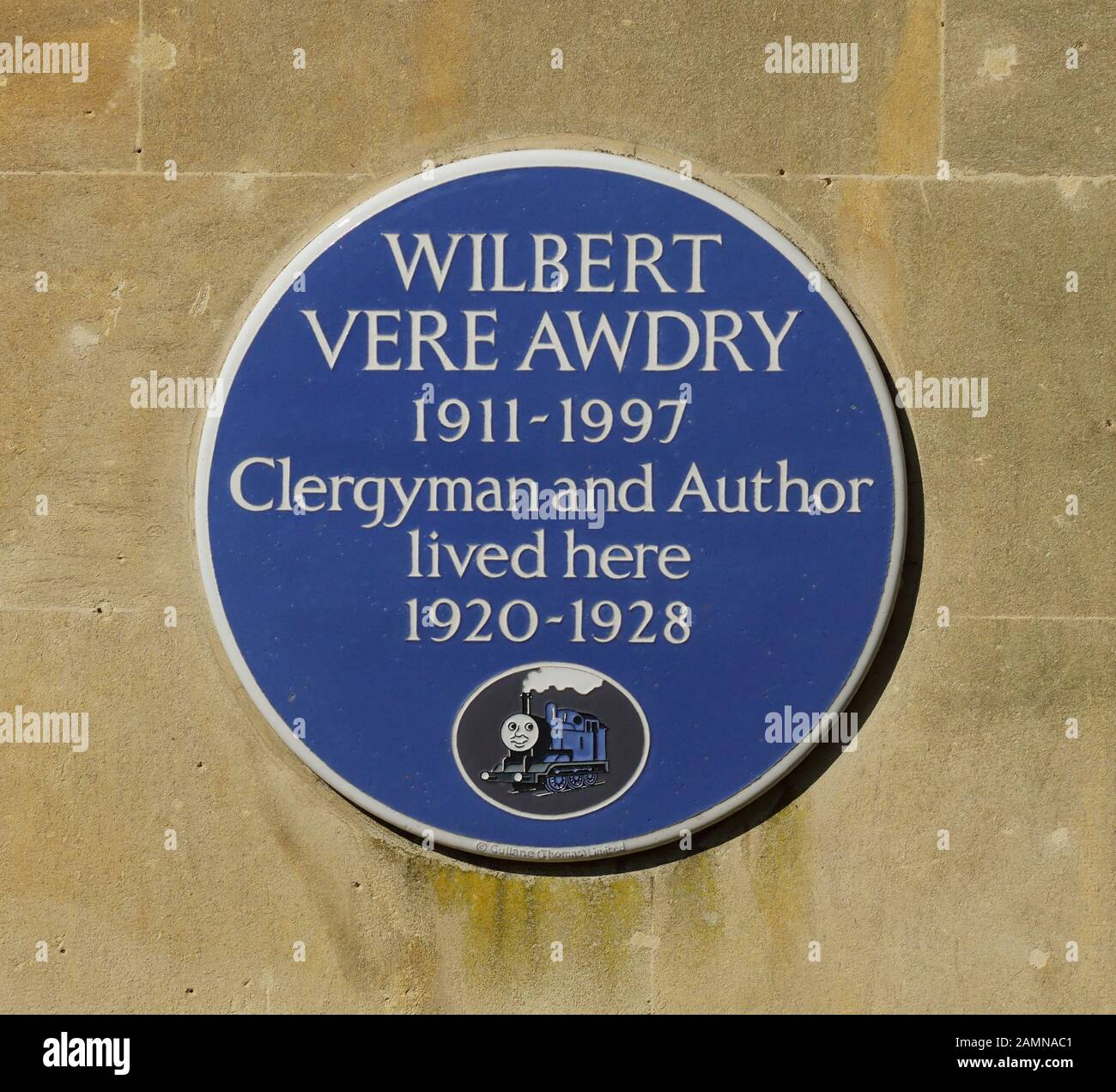 A blue plaque for Rev W V Awdry (creator of the Thomas the Tank Engine books) on Lorne House, his former home in Box, Wiltshire. Stock Photo