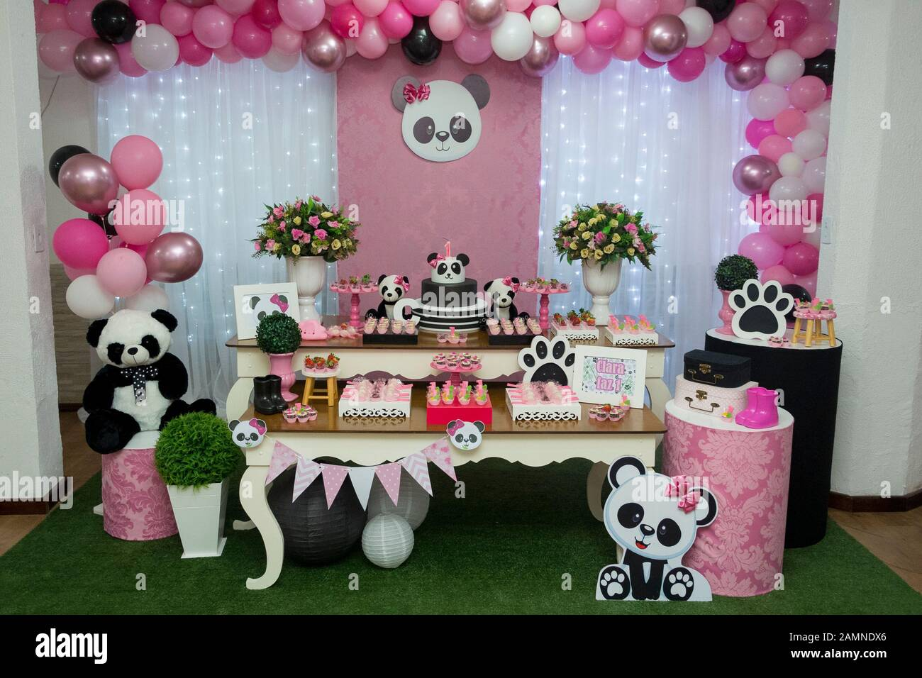 Miraculous Table Of Sweets And Birthday Cake Girl Party Decorated With Panda Funny Birthday Cards Online Elaedamsfinfo