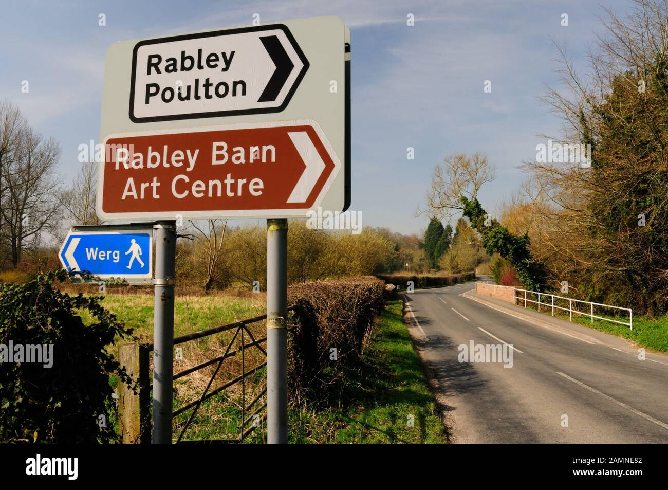 Road sign at a junction on the Mildenhall road near Marlborough, Wiltshire. Stock Photo