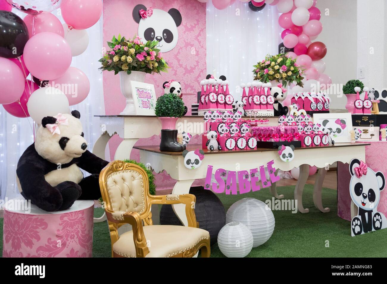 Terrific Table Of Sweets And Birthday Cake Girl Party Decorated With Panda Funny Birthday Cards Online Elaedamsfinfo