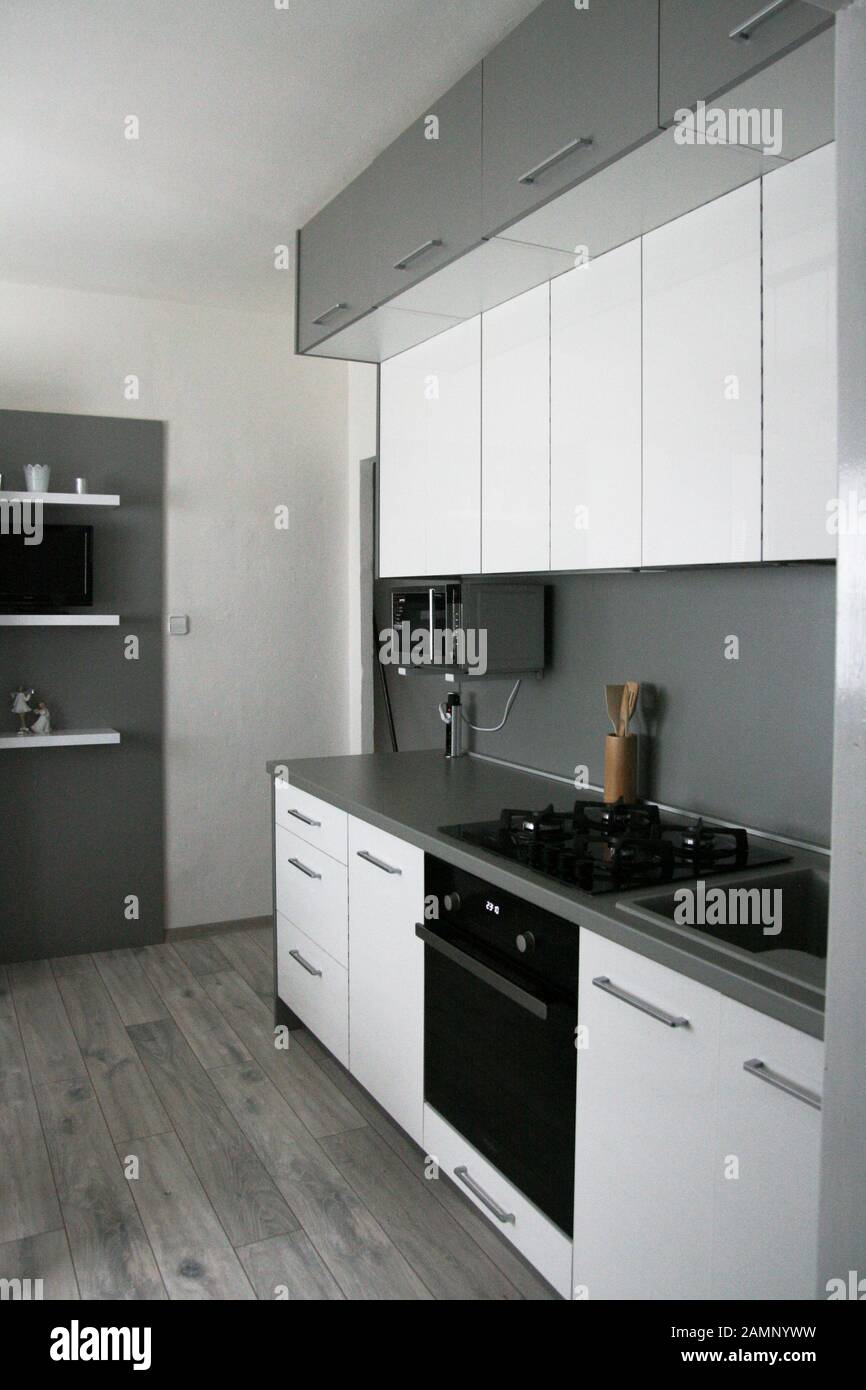 White Kitchen Design Scandinavian Clean Simple Kitchen Interior Modern Home Monimalism Stock Photo Alamy