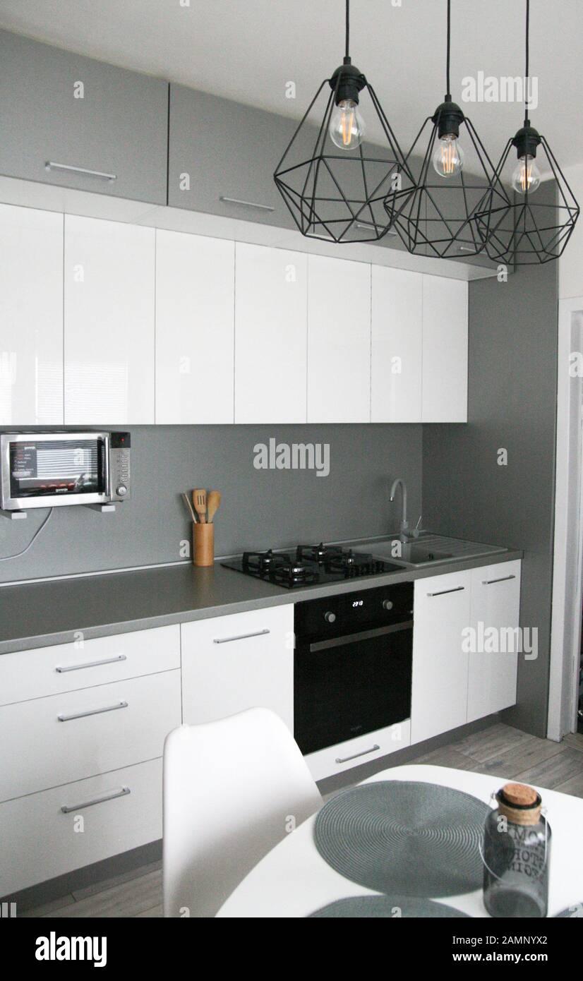 White Kitchen Design Scandinavian Clean Simple Kitchen Interior Modern Home Monimalism Stock Photo Alamy