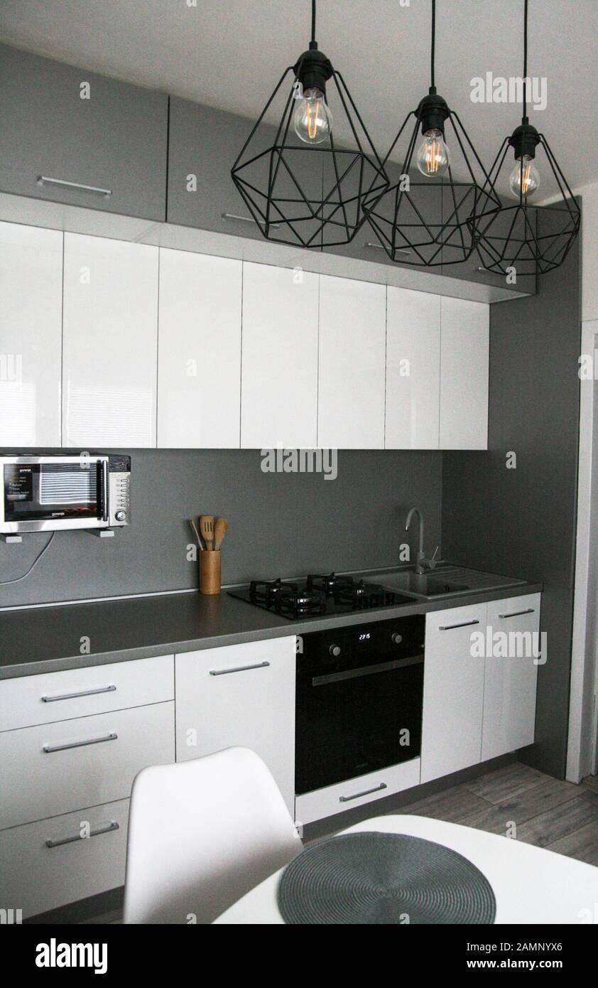 White Kitchen Design. Scandinavian, Clean, Simple Kitchen Interior