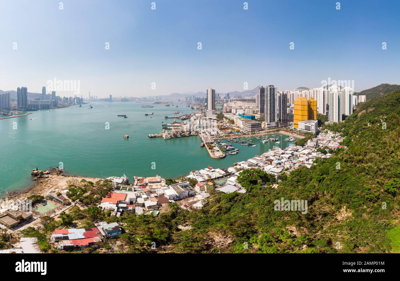 Aerial view of the waterfront Yau Tong residential district by the Victoria harbor famous for its fisherman harbor and seafood restaurants Stock Photo
