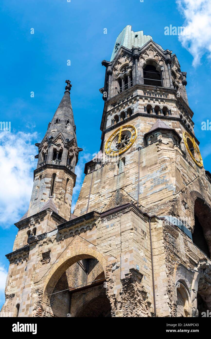 Church tower of the Kaiser Wilhelm Memorial Church, Charlottenburg, Berlin, Germany Stock Photo