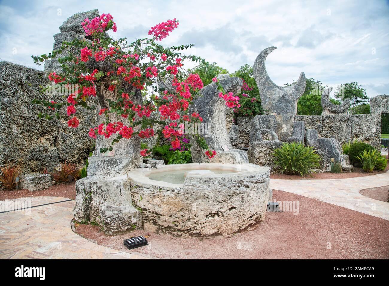 Garden with limestones, Coral Castle Museum, Homestead, Florida, USA Stock Photo
