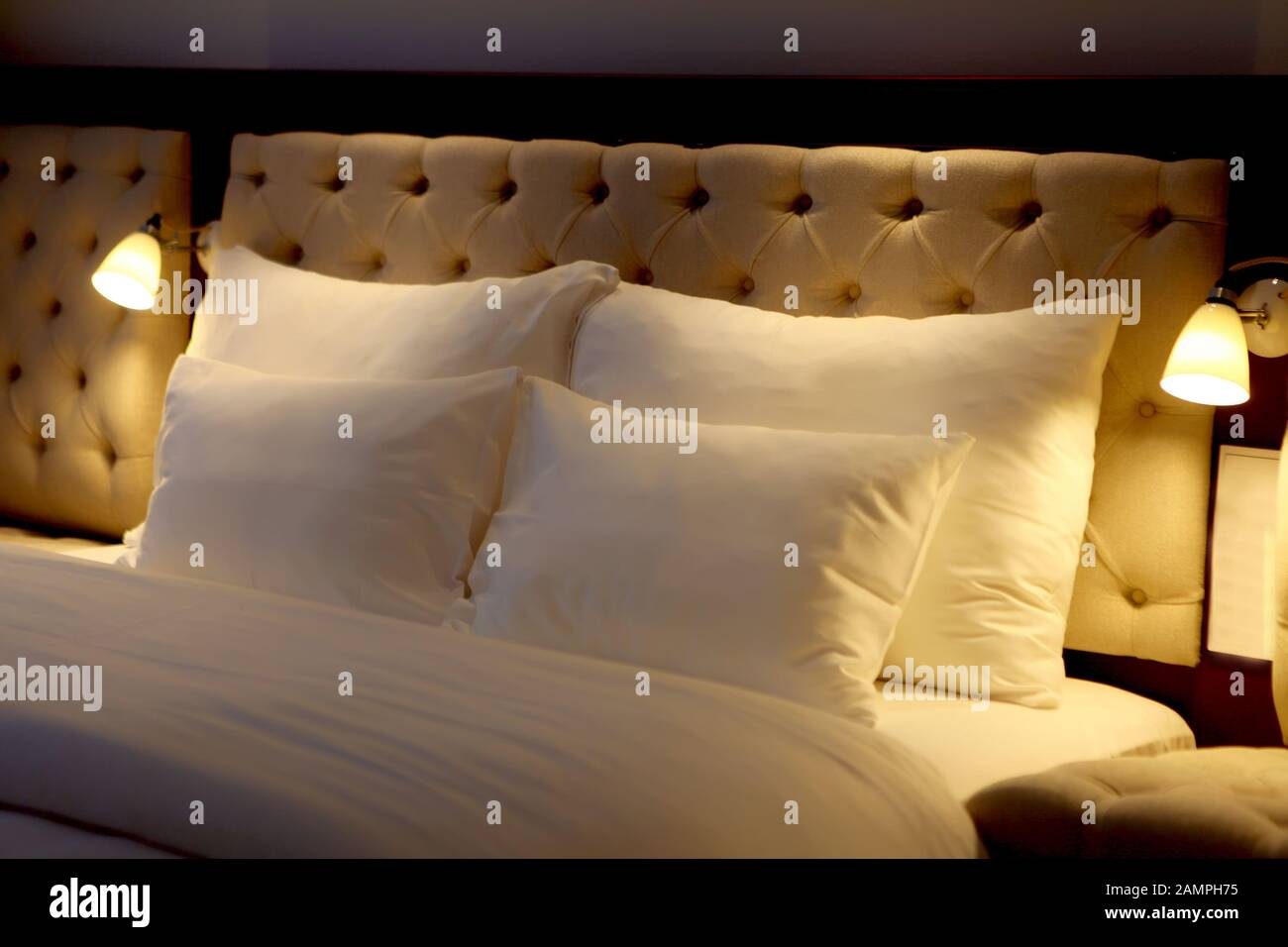 Bed Made Up With White Big Pillows At Beautiful Bedroom Beautiful