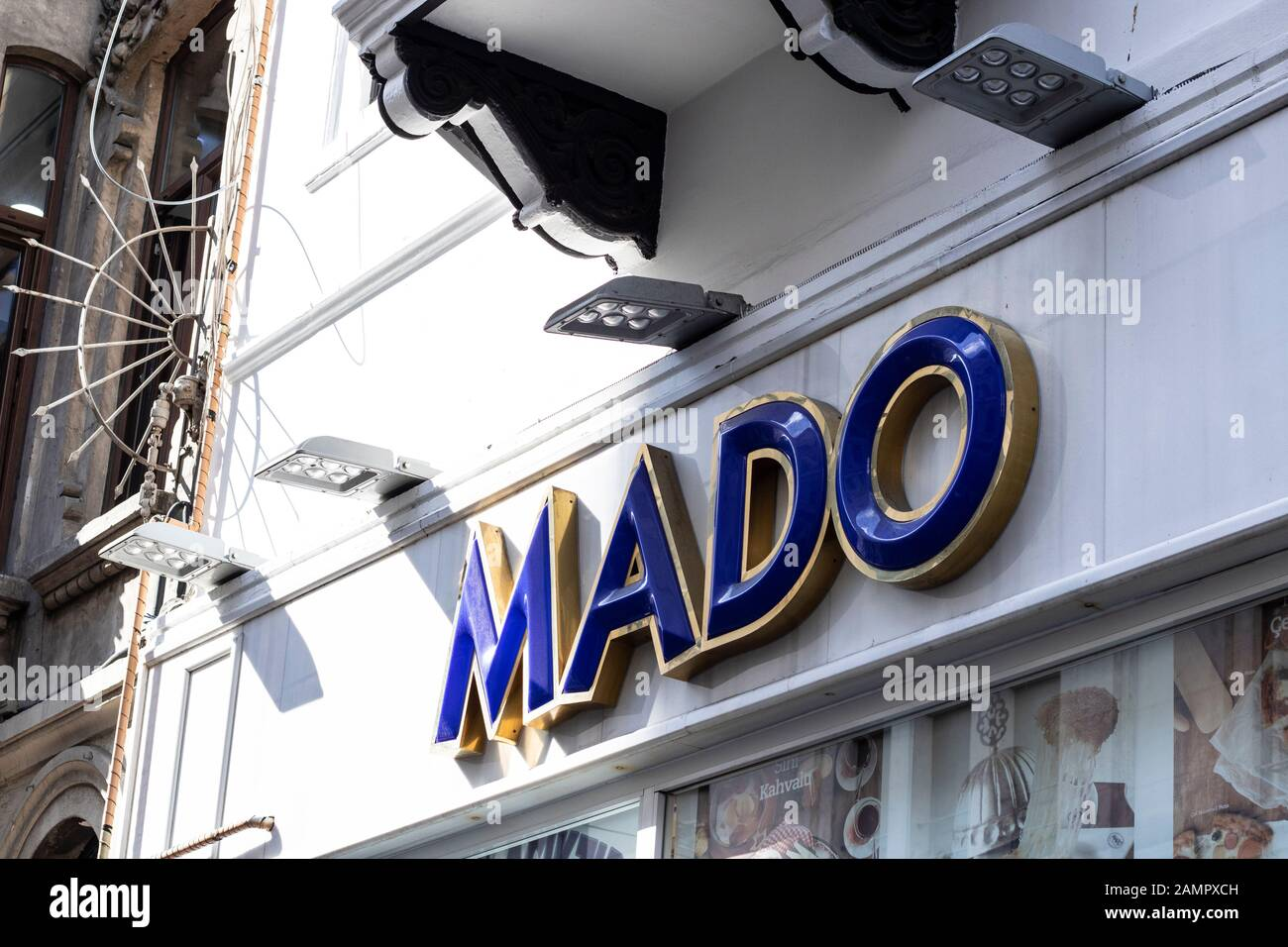 Mado is a trademark of Turkey. He sells ice cream. Maras ice cream is the best ice cream in Turkey. There are many places in Turkey in the shop. Stock Photo