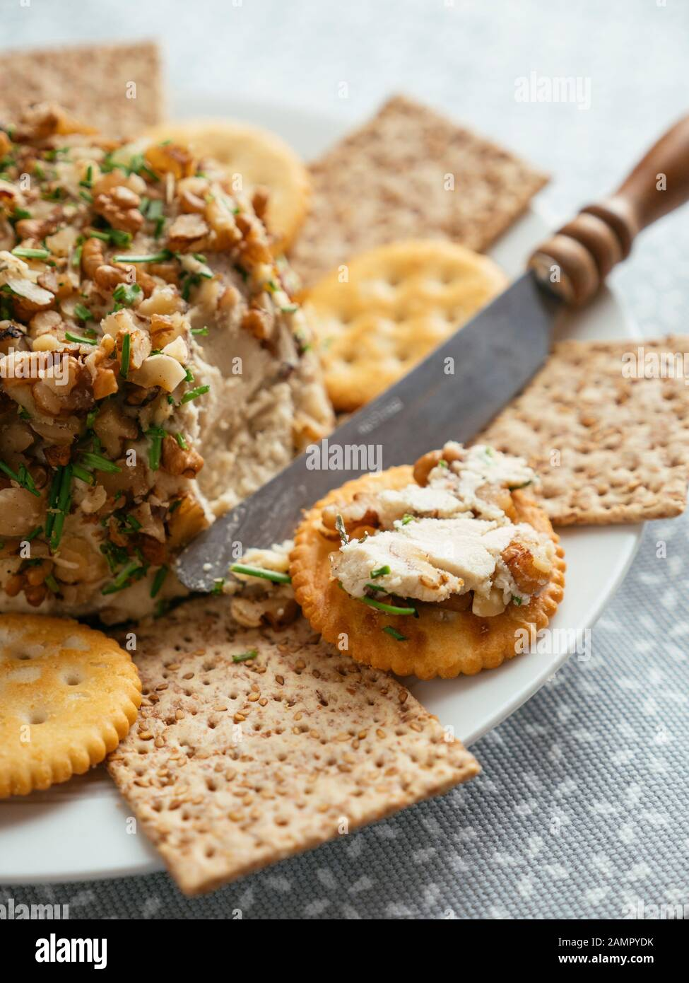 Home made vegan cheddar with nuts, served with crackers. Stock Photo