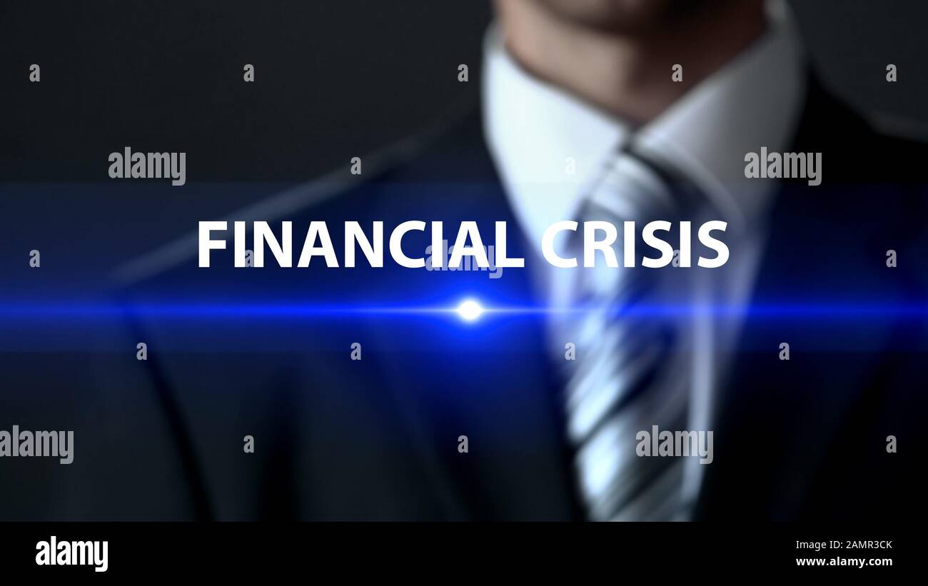 Financial crisis, businessman in suit standing in front of screen money problems Stock Photo