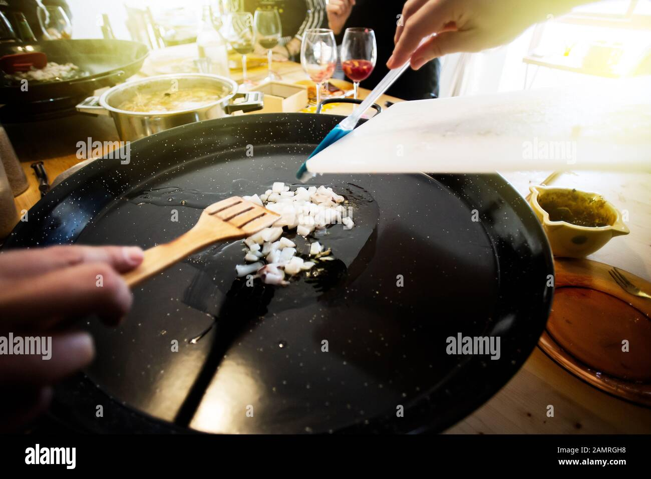 Paella ingredients on the pan, This is a traditional Spanish food usually prepared with rice, meat, seafood Stock Photo