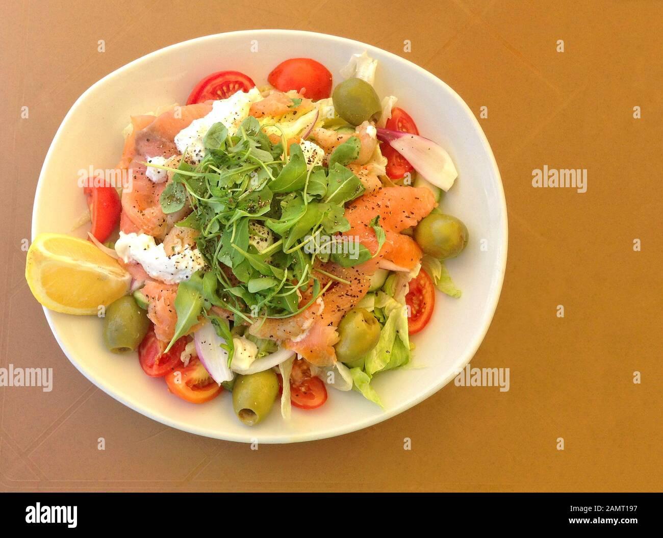 Plate Of Shrimp And Smoked Salmon Salad Stock Photo Alamy