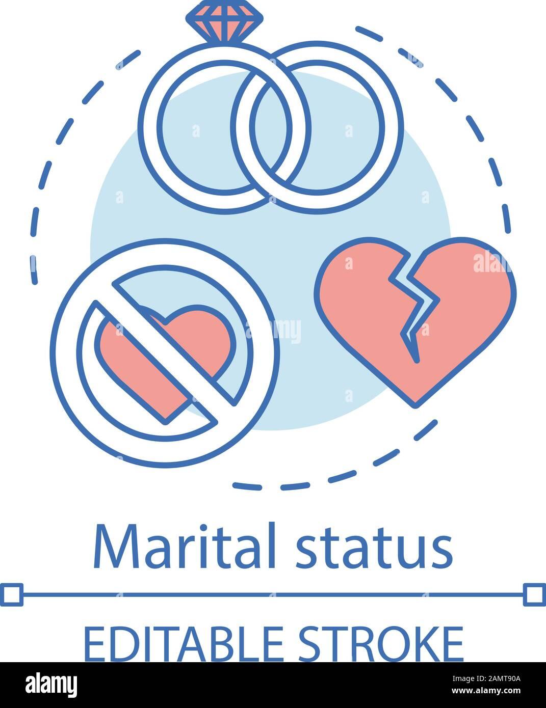 Marital Status Concept Icon Wedding Rings Broken Heart Idea Thin Line Illustration Marriage Relationship Breakup Divorced Single Married Vecto Stock Vector Image Art Alamy