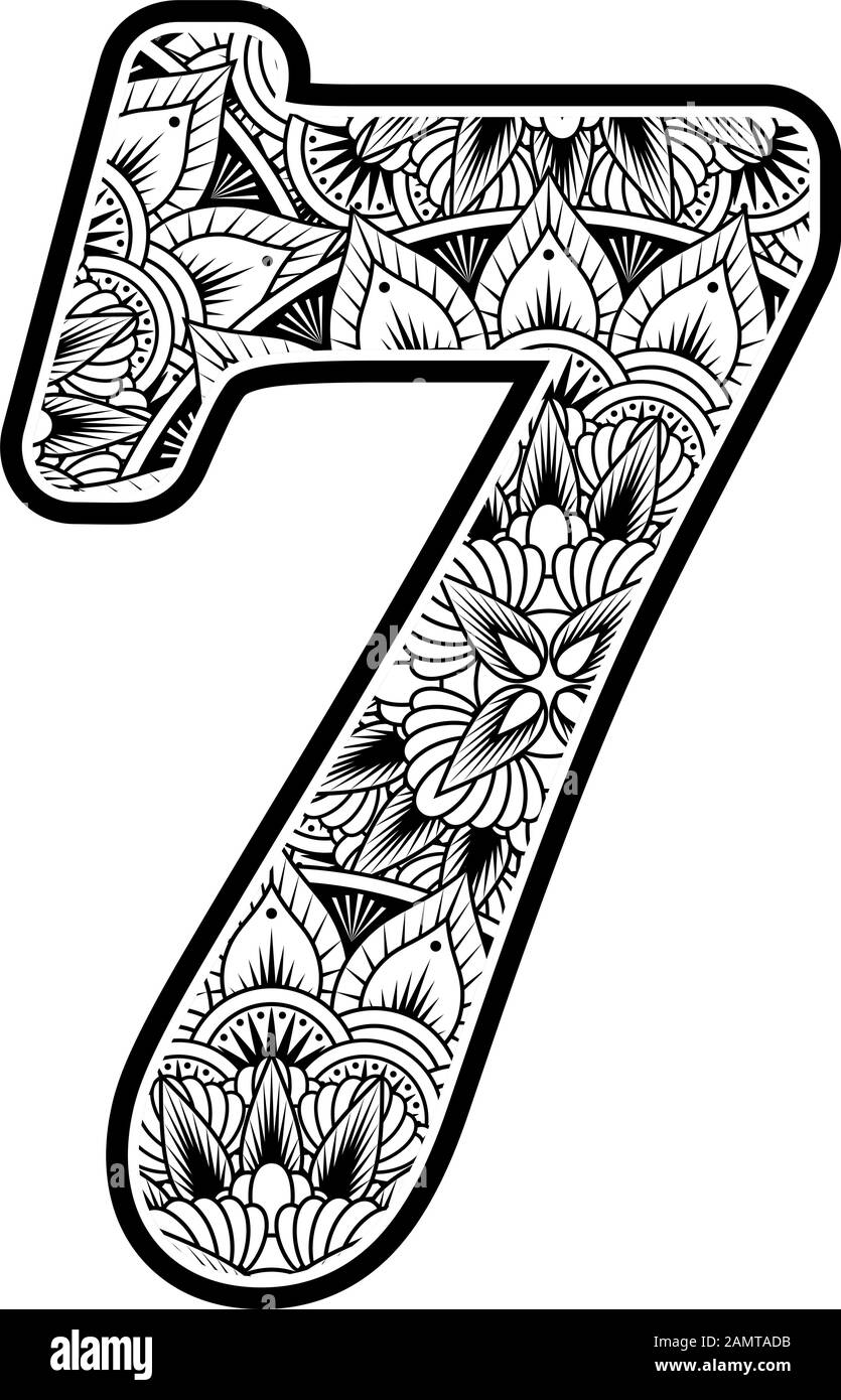 number 7 with abstract flowers ornaments in black and white. design inspired from mandala art style for coloring. Isolated on white background Stock Vector