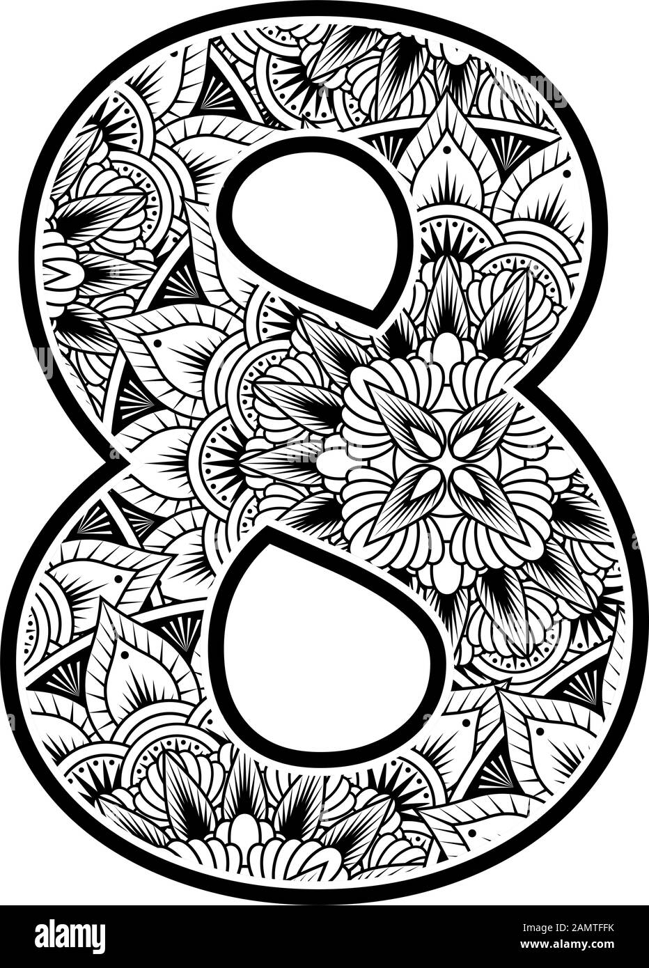 number 8 with abstract flowers ornaments in black and white. design inspired from mandala art style for coloring. Isolated on white background Stock Vector